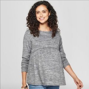 Isabel Maternity Heathered Gray Sweater Top L
